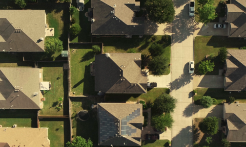 Aerial view of some houses in a neighborhood